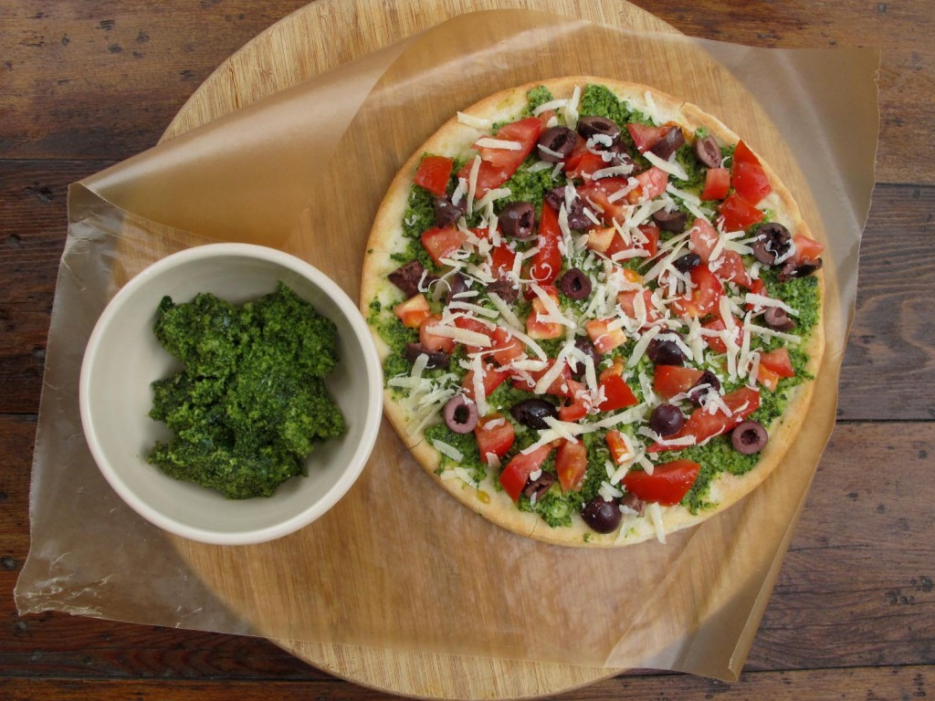 Gluten-free pesto pizza